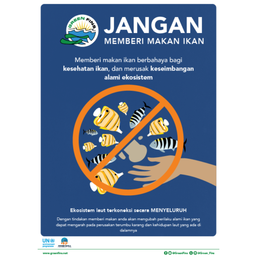 Do not feed the fish poster (Indonesian - Bahasa Indonesia)