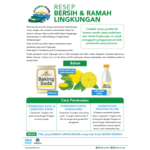 Non-Toxic Cleaning (Clean & Green) Recipe (Indonesian - Bahasa Indonesia)