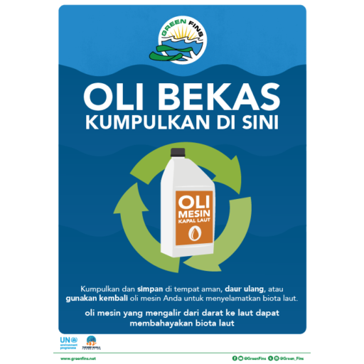 Used oil collected here sign (Indonesian - Bahasa Indonesia)