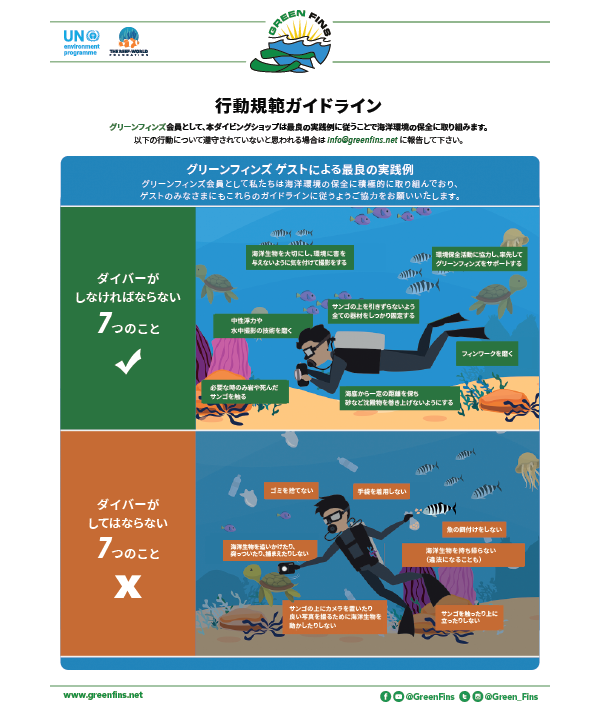 Green Fins Guidelines to the Code of Conduct – Diver  (Japanese - 日本人)