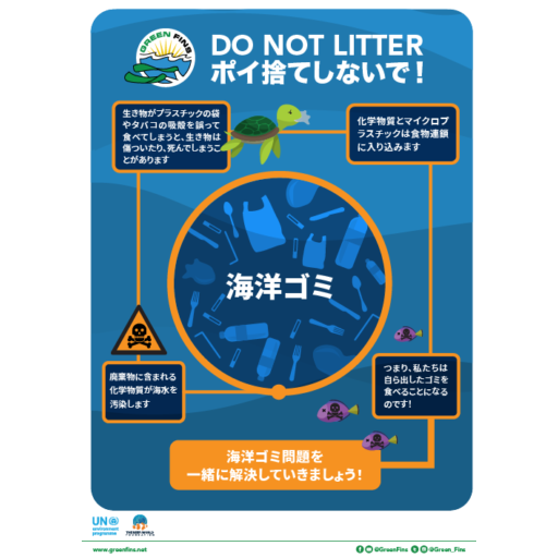 No Litter / marine debris poster (Japanese - 日本人)