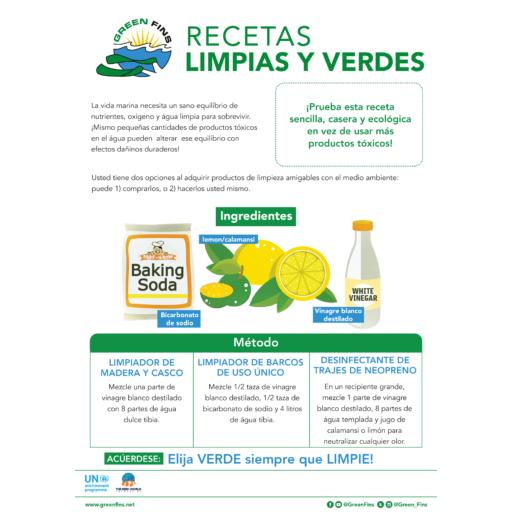 Non-Toxic Cleaning (Clean & Green) Recipe (Spanish - Español)
